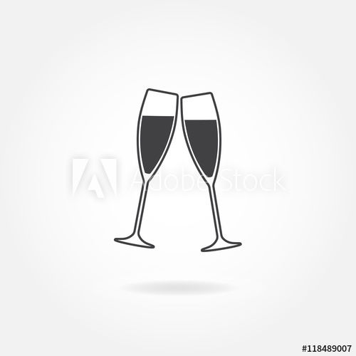 Two glasses of champagne or wine