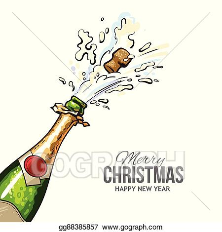 Champaign clipart christmas. Vector illustration greeting card
