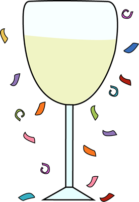 Champagne Glass and Confetti Clip Art