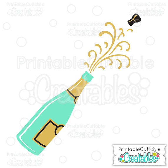 Champagne Popping SVG Cutting Files