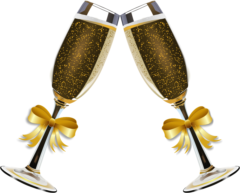 Decorated wine glasses in. Sunglasses clipart gold