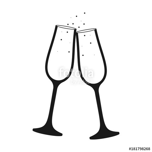 Champaign clipart vector. Champagne glass icon stock