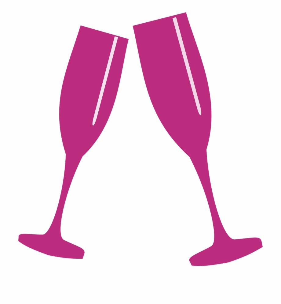 Champaign clipart vector. Glass pink champagne cheers