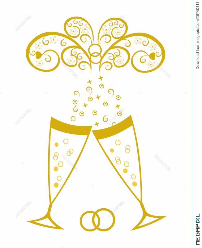 Glasses golden wedding illustration. Celebration clipart champagne