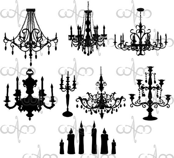 Chandelier clipart baroque. Chandeliers clip art graphic