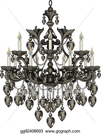 Chandelier clipart baroque. Vector illustration black stock