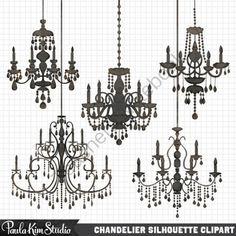 Silhouette ornamental by blackcatsmedia. Chandelier clipart baroque