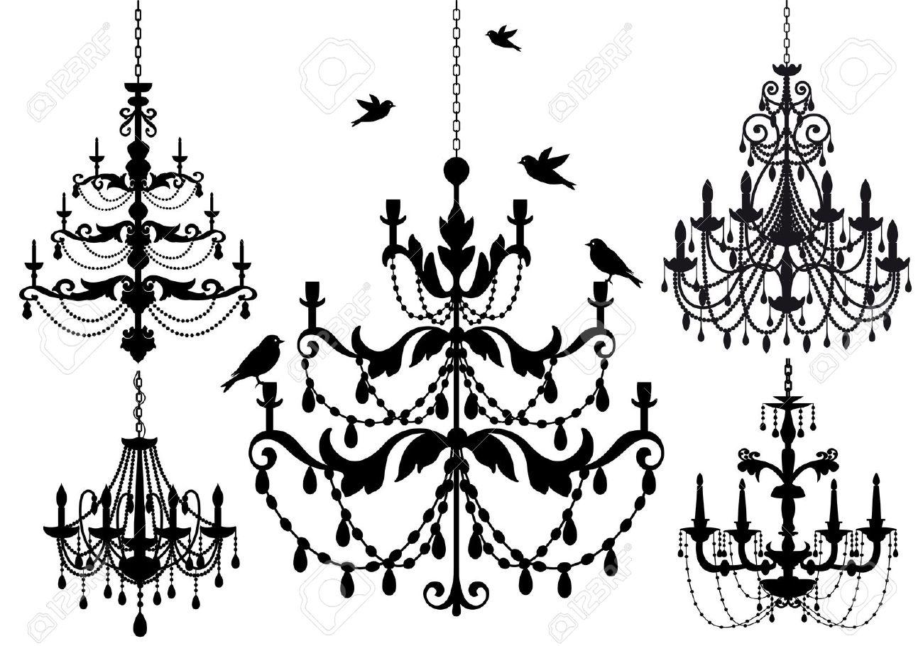 Sketch pencil and in. Chandelier clipart baroque