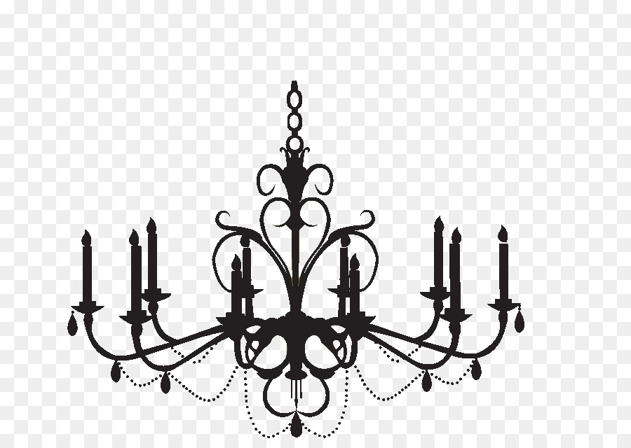 Wall decal silhouette clip. Chandelier clipart baroque