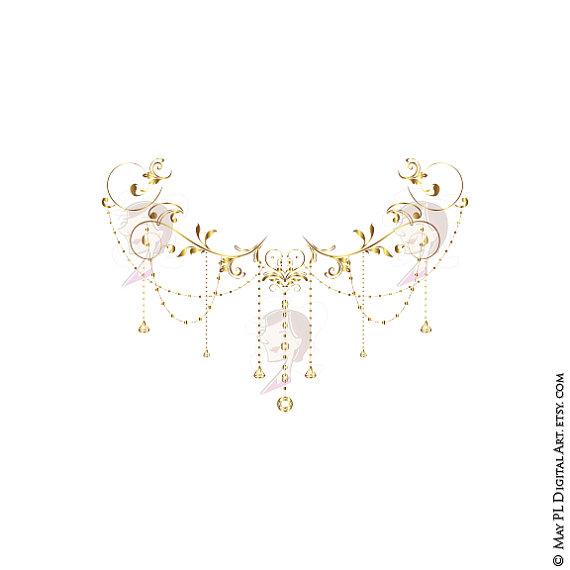 Chandelier clipart border. Wedding clip art gold