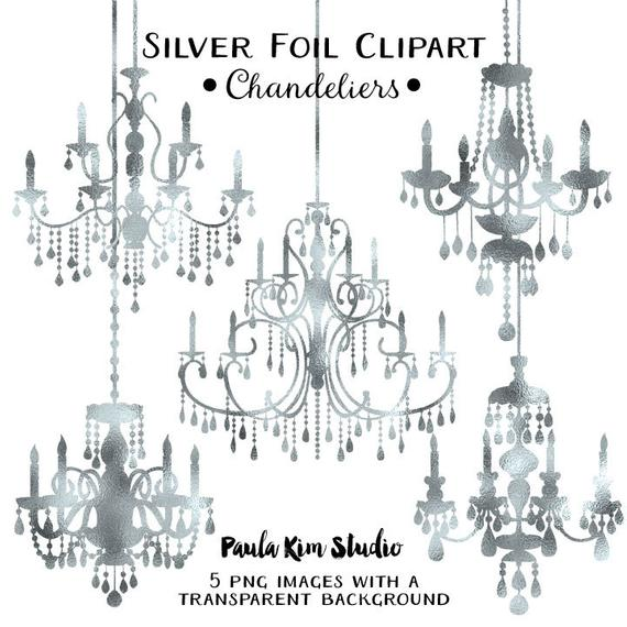Silver foil clip art. Chandelier clipart wedding