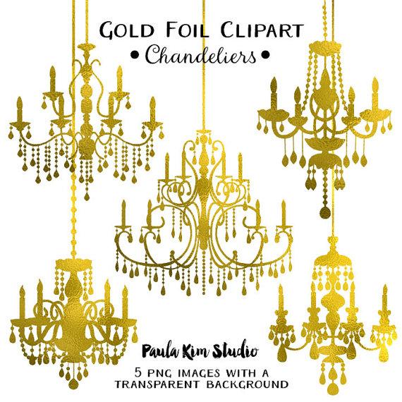 Chandelier clipart wedding. Gold foil clip art