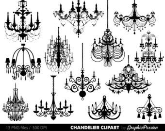Clip art silhouettes by. Chandelier clipart wedding