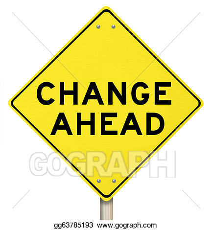 Change clipart. Yellow warning sign ahead