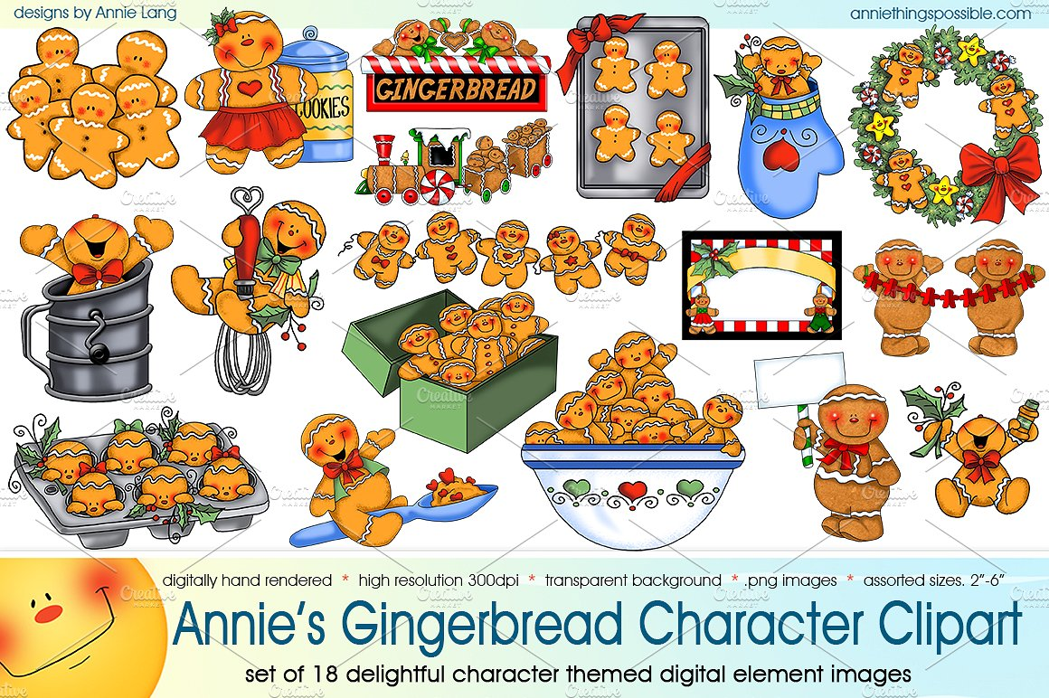 S gingerbread characters graphics. Character clipart annie