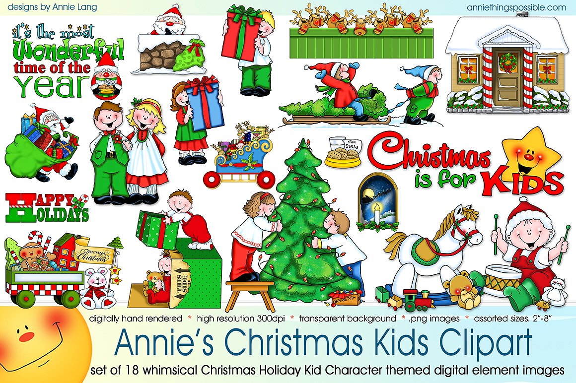 S christmas kids illustrations. Character clipart annie