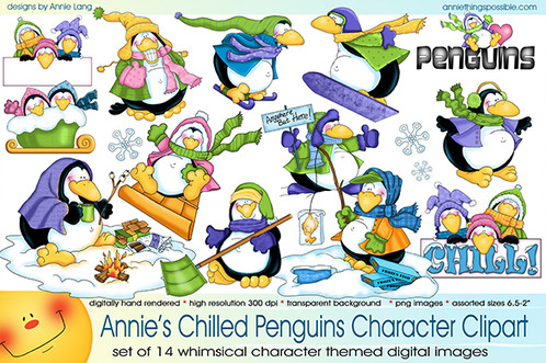 Chilled penguin collection things. Character clipart annie