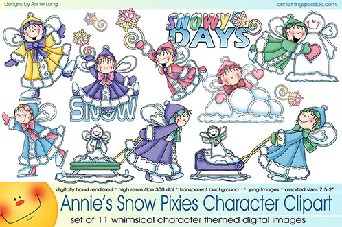 Character clipart annie. Snow pixies collection things