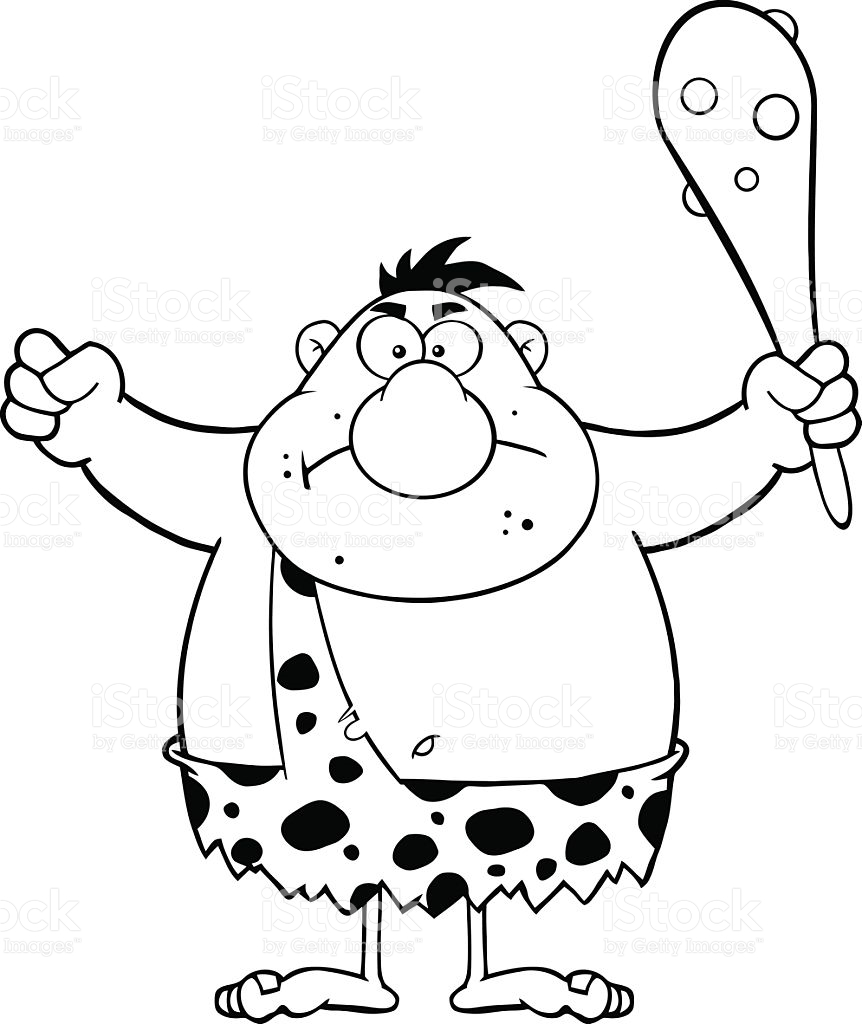Character clipart black and white. Caveman pencil in color