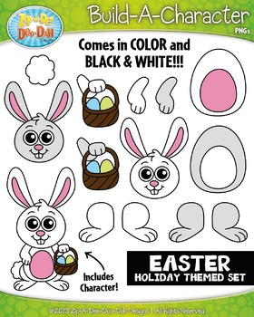Easter build a zip. Character clipart bunny