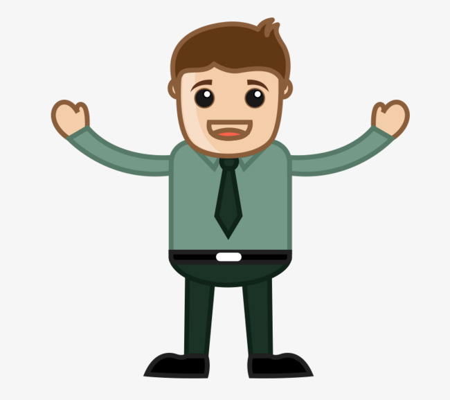 With open arms cartoon. Character clipart business man