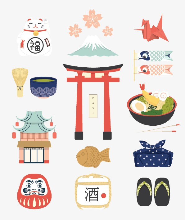 Japanese cartoon flat elements. Character clipart characteristic