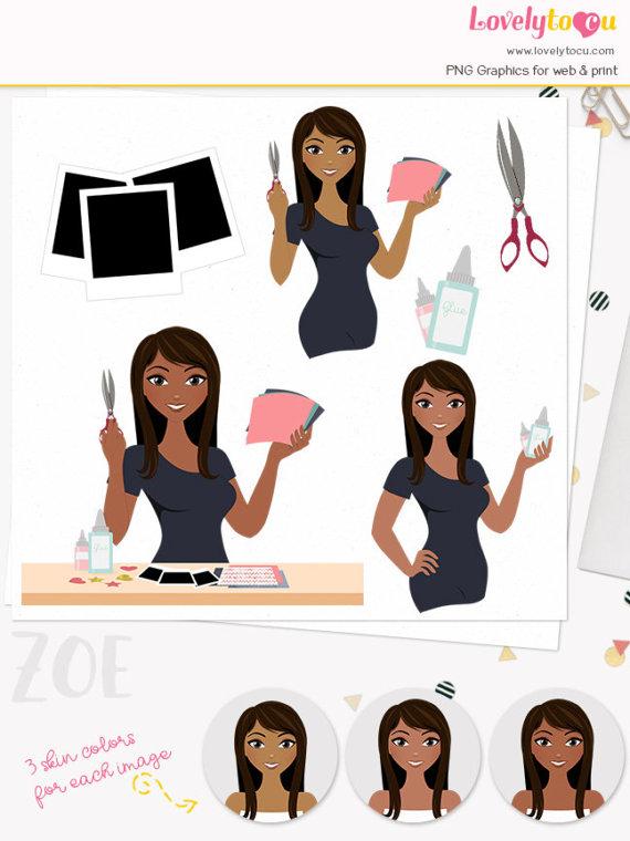 Scrapbooking woman crafter girl. Character clipart clip art