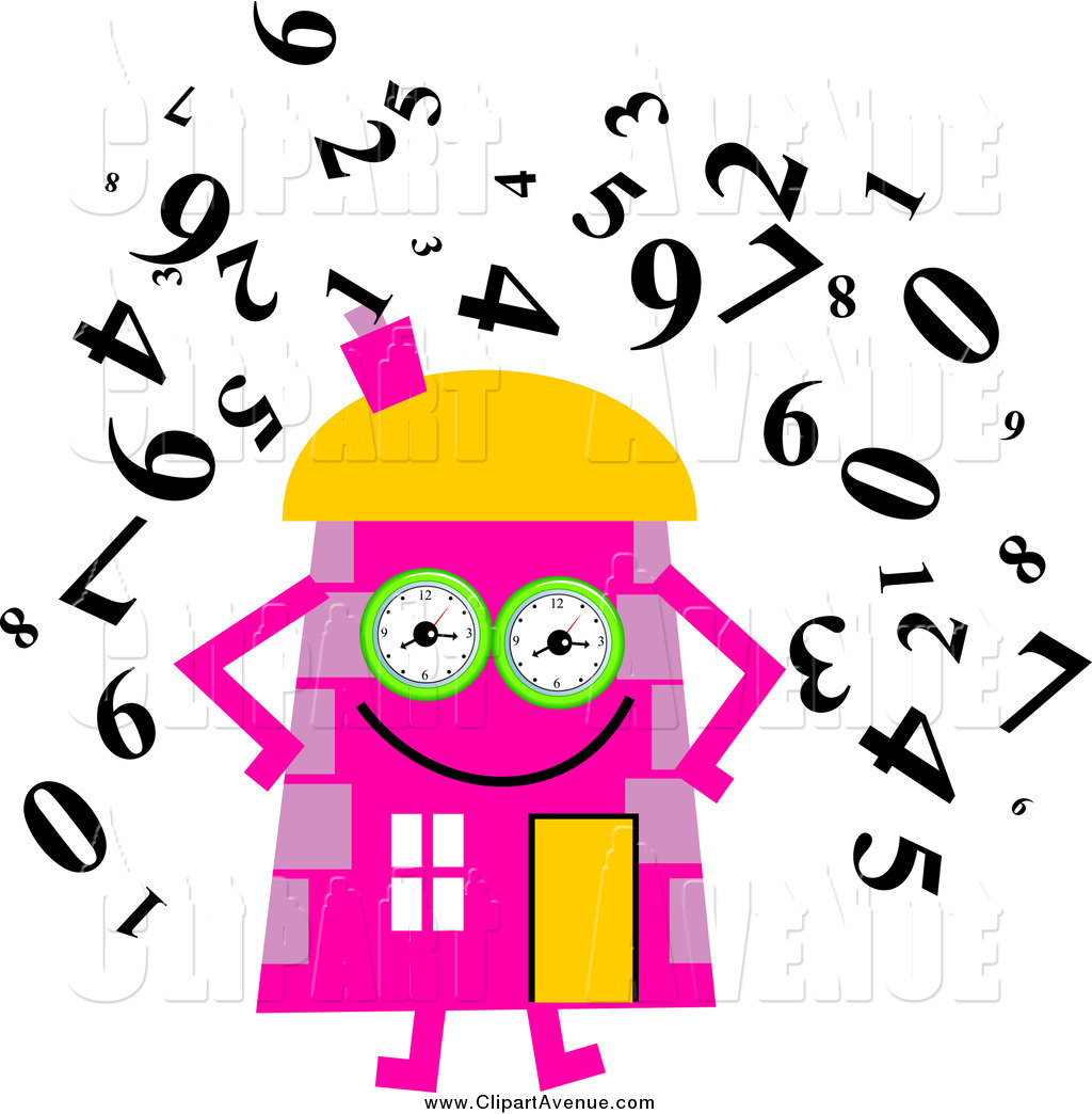 Avenue of a pink. Character clipart clock