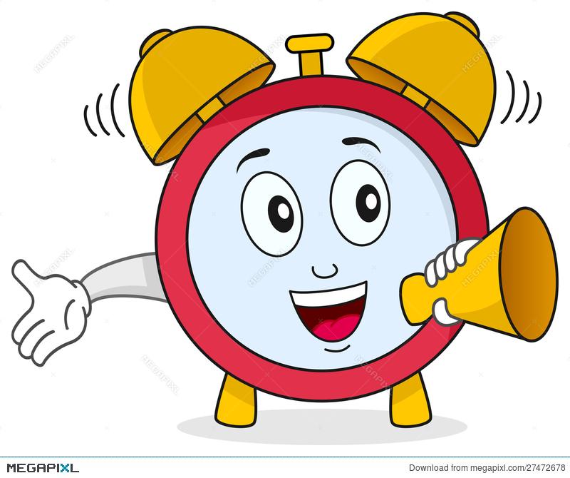 Funny alarm illustration megapixl. Clipart clock character