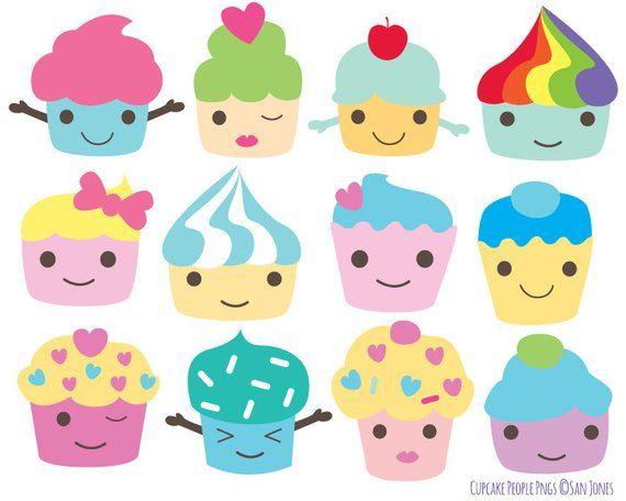 Character clipart cute. Cupcake clip art kawaii