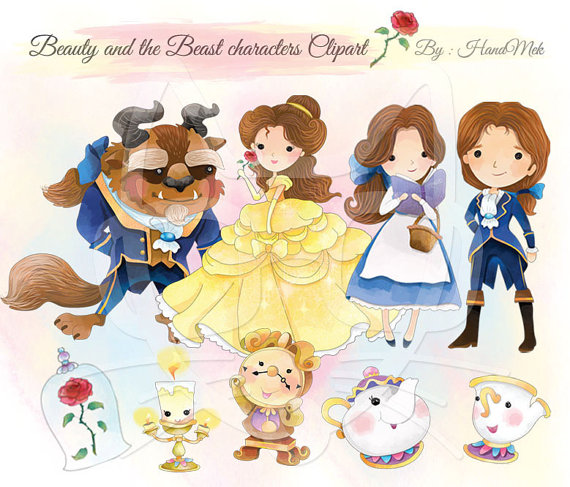 Character clipart cute. Beauty and the beast