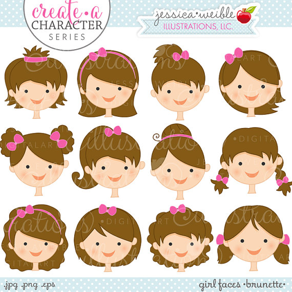 Brunette girl faces create. Character clipart cute