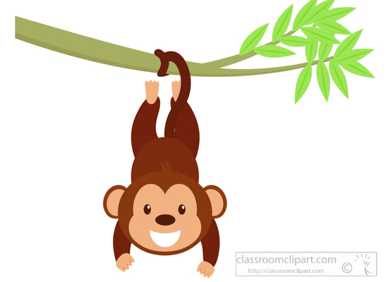 Monkey hanging on branch. Character clipart cute