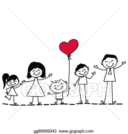 Character clipart family. Vector art hand drawing