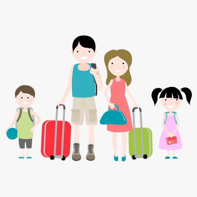 Travel cartoon characters illustration. Character clipart family