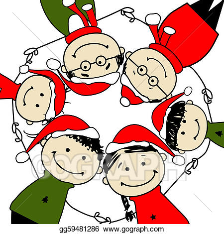 Vector merry christmas happy. Character clipart family