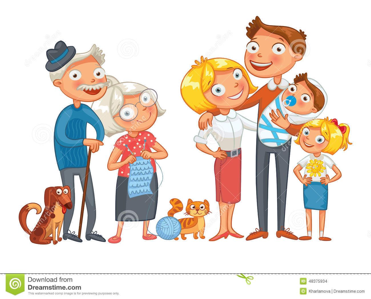 Big happy consisting father. Character clipart family