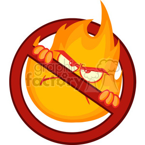 Royalty free rf illustration. Character clipart flame