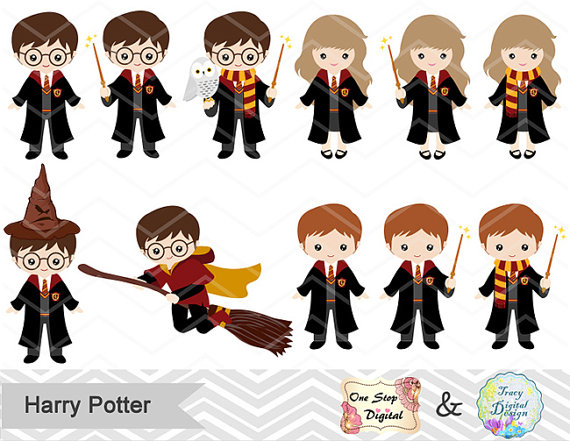 Character clipart harry potter. Digital wizard kids clip