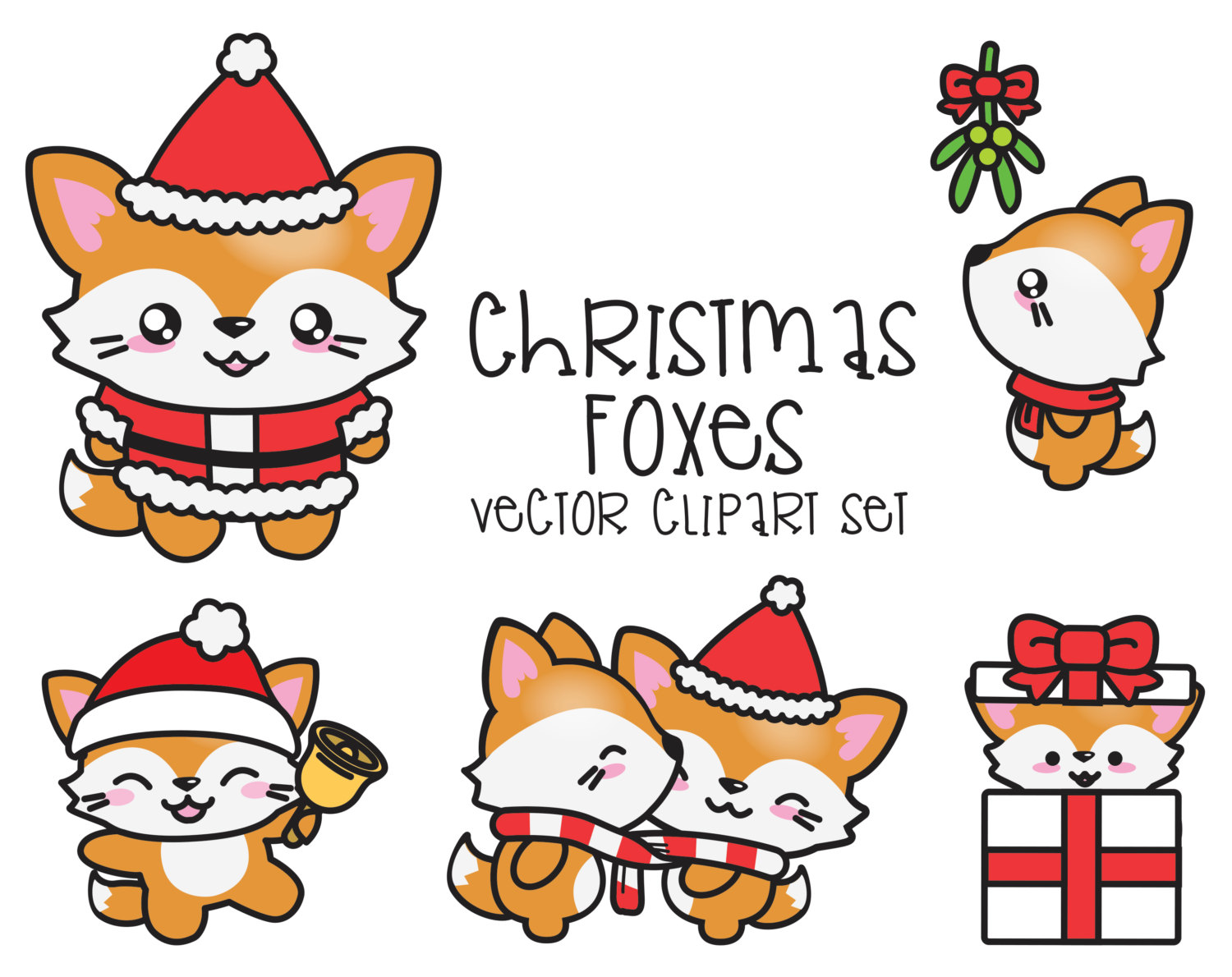 Character clipart kawaii. Premium vector christmas foxes