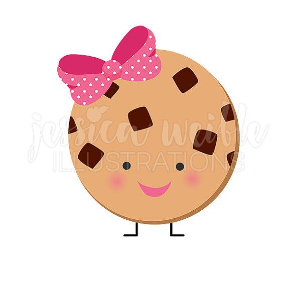 Cute chocolate chip cookie. Character clipart kawaii
