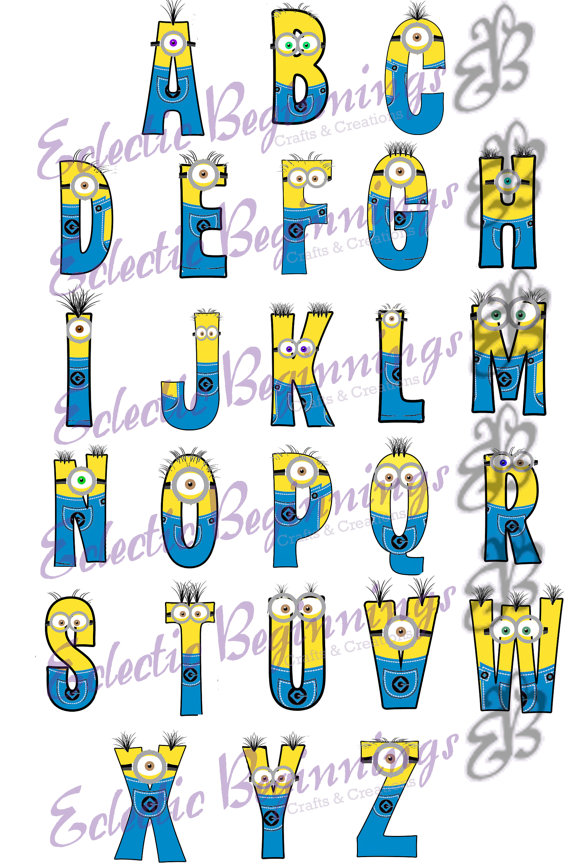 Alphabet png digital file. Character clipart minions