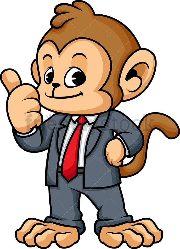 Monkey clipart character. In suit p vector