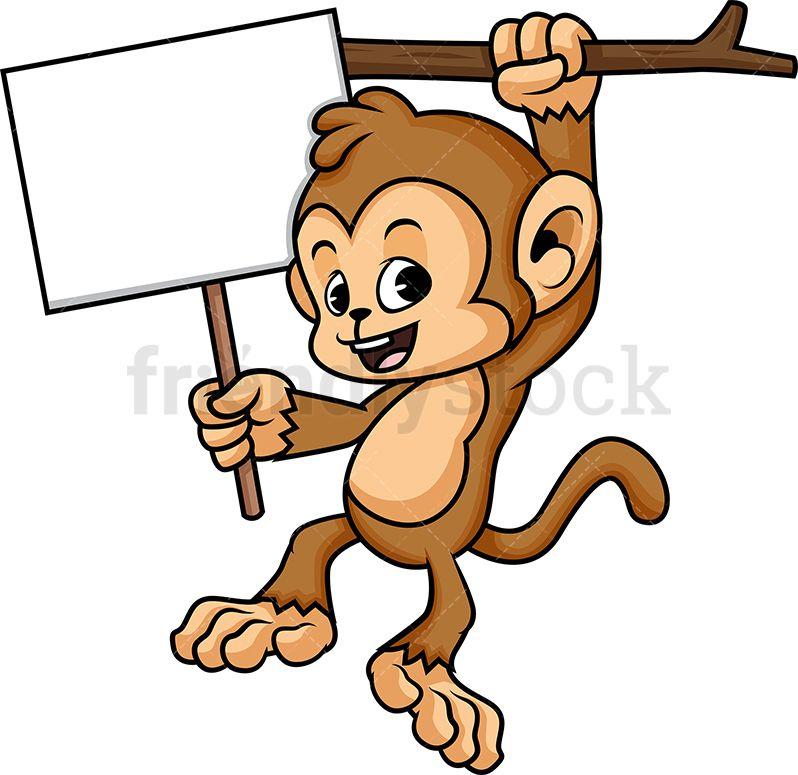 Monkey clipart sign. Holding blank art journal