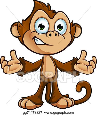 Clipart monkey cheeky monkey. Vector stock character illustration
