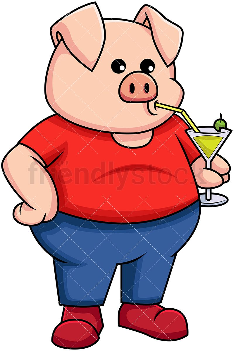 Holding a cold drink. Pig clipart drinking