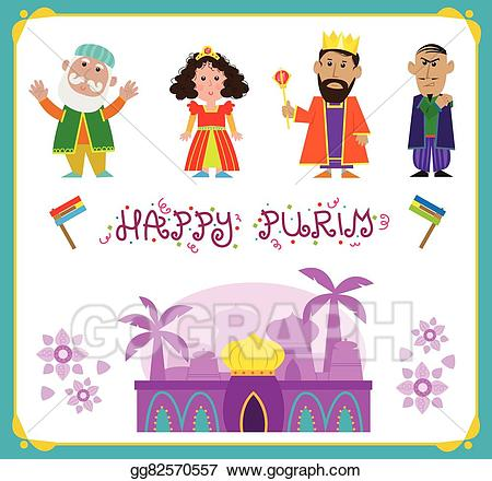Purim clipart character. Vector characters illustration