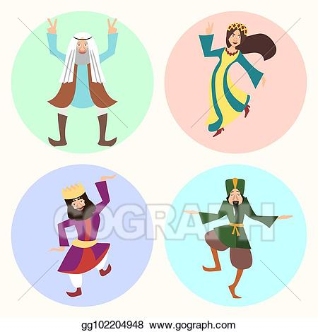 Eps illustration jewish characters. Purim clipart character