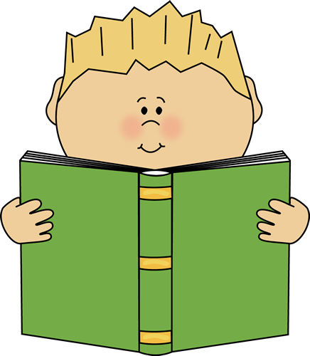 Character clipart reading. Boy a book from