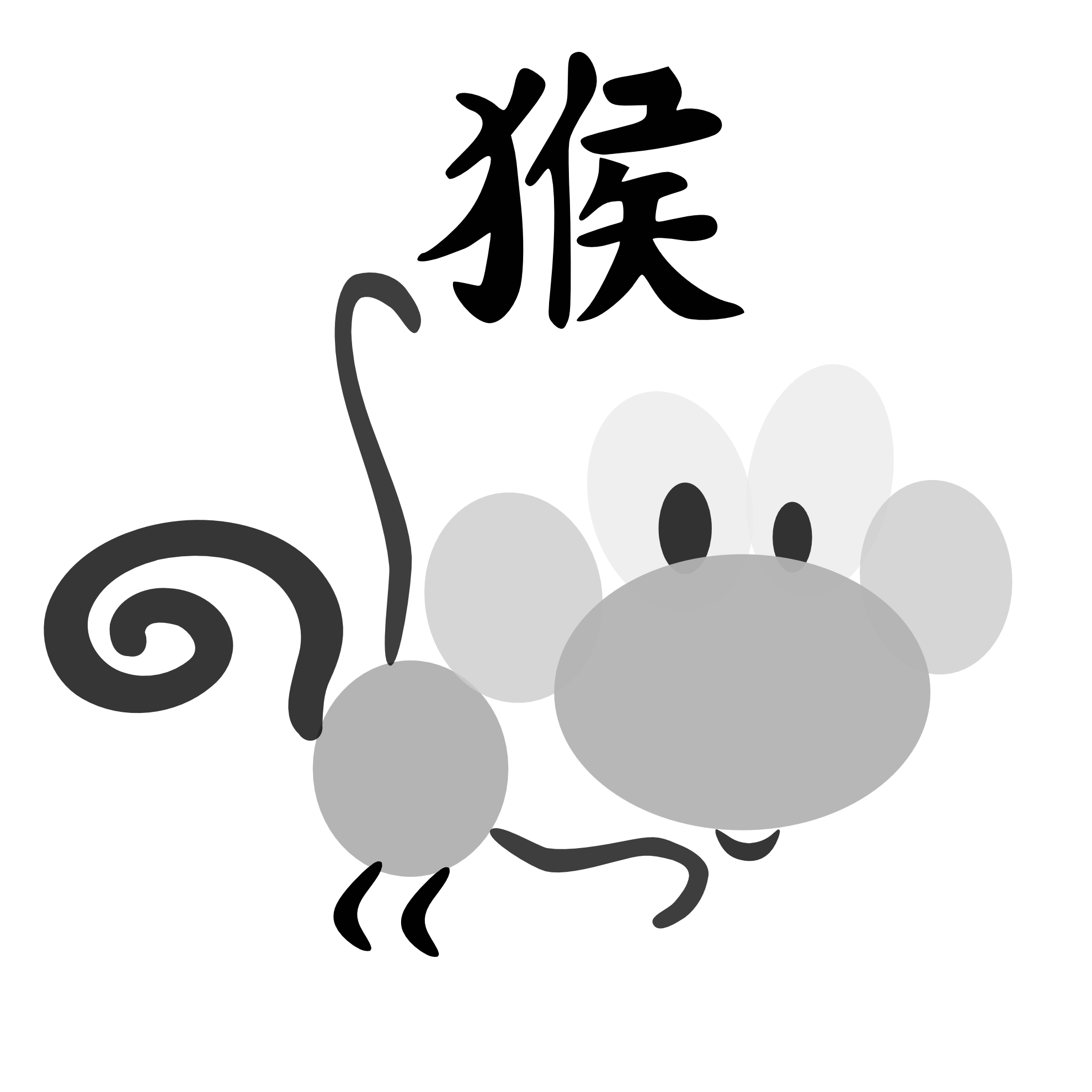 Chinese horoscope monkey sign. Character clipart transparent